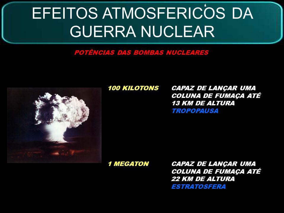 RADIAÇÃO TÉRMICA VENTOS RADIAÇÃO PRIMÁRIA INCÊNDIOS GASES TÓXICOS ESCURIDÃO FRIO ÁGUA CONGELADA 1H1D1S1M3M6M1A2A5A10AEVENTO/DURAÇÃO REFERÊNCIA: 5000 MEGATONS EFEITOS ATMOSFERICOS DA GUERRA NUCLEAR