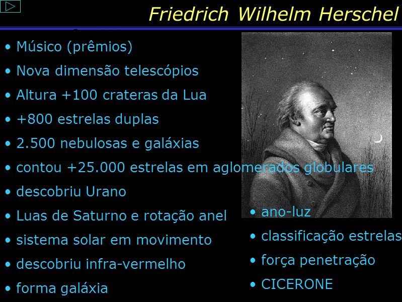Friedrich Wilhelm Herschel Seus feitos foram tão revolucionários que só no século XX a ciência começaria a ultrapassar suas pegadas... Sim, é o fim!!!