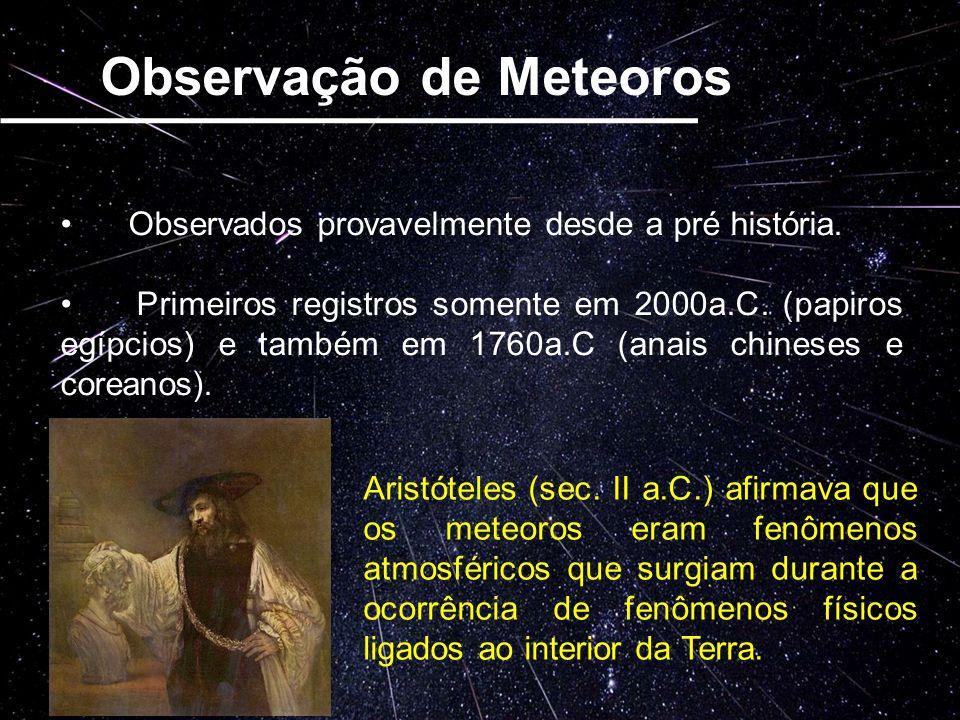 Observação de Meteoros Observados provavelmente desde a pré história. Primeiros registros somente em 2000a.C. (papiros egípcios) e também em 1760a.C (