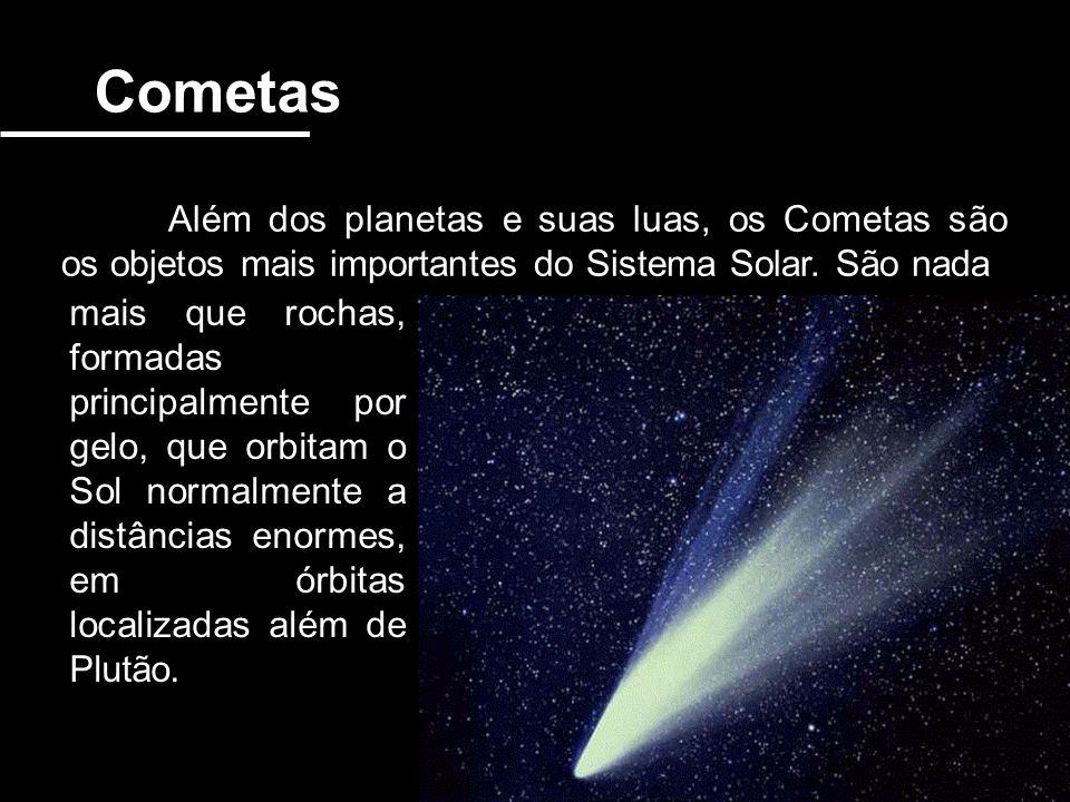 Cometas Além dos planetas e suas luas, os Cometas são os objetos mais importantes do Sistema Solar. São nada mais que rochas, formadas principalmente