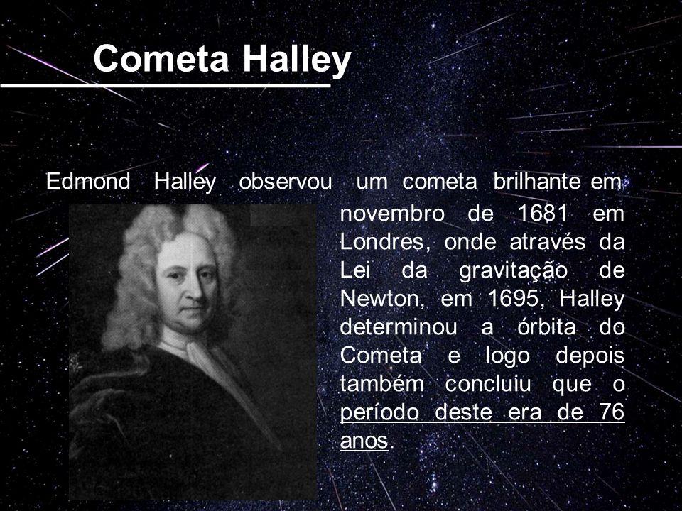 Cometa Halley Edmond Halley observou um cometa brilhante em novembro de 1681 em Londres, onde através da Lei da gravitação de Newton, em 1695, Halley