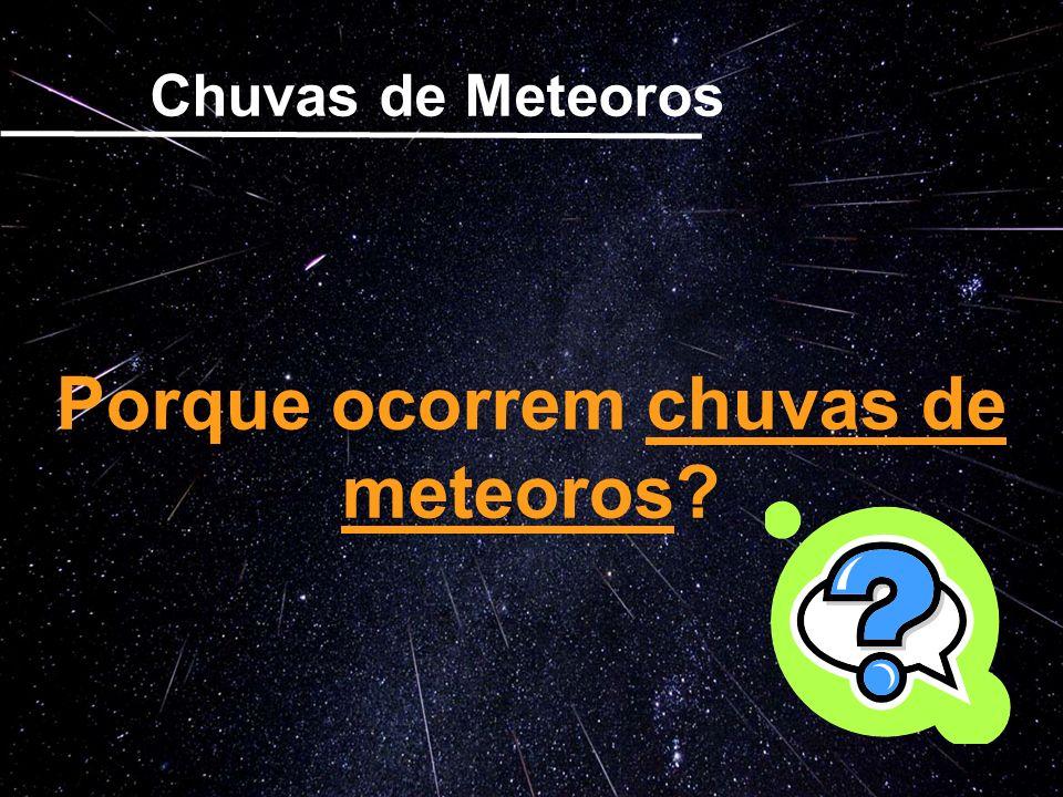 Qdo passa-se pela órbita de um cometa....... Porque ocorrem chuvas de meteoros? Chuvas de Meteoros Porque ocorrem chuvas de meteoros?