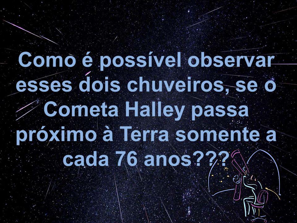 Como é possível observar esses dois chuveiros, se o Cometa Halley passa próximo à Terra somente a cada 76 anos???