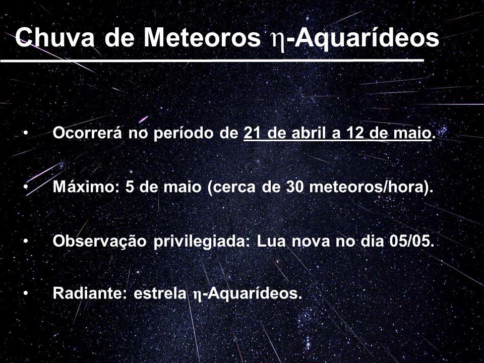 Chuva de Meteoros η -Aquarídeos Ocorrerá no período de 21 de abril a 12 de maio. Máximo: 5 de maio (cerca de 30 meteoros/hora). Observação privilegiad