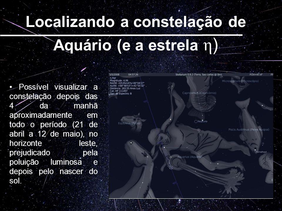 Possível visualizar a constelação depois das 4 da manhã aproximadamente em todo o período (21 de abril a 12 de maio), no horizonte leste, prejudicado