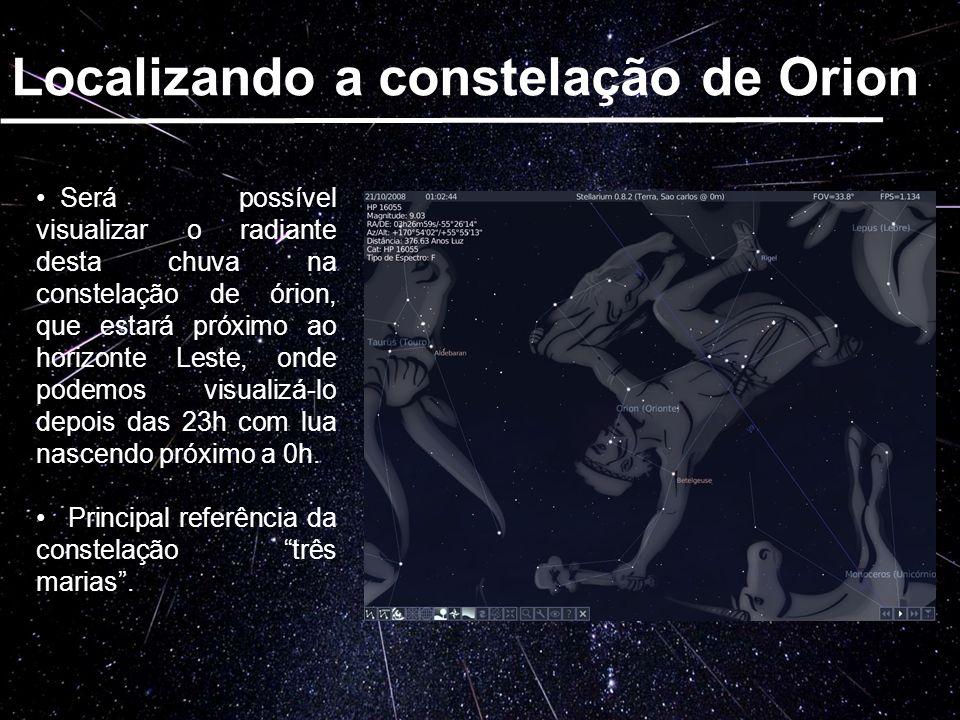 Será possível visualizar o radiante desta chuva na constelação de órion, que estará próximo ao horizonte Leste, onde podemos visualizá-lo depois das 2