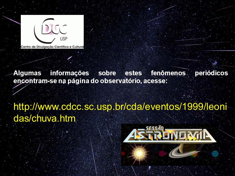 Algumas informações sobre estes fenômenos periódicos encontram-se na página do observatório, acesse: http://www.cdcc.sc.usp.br/cda/eventos/1999/leoni