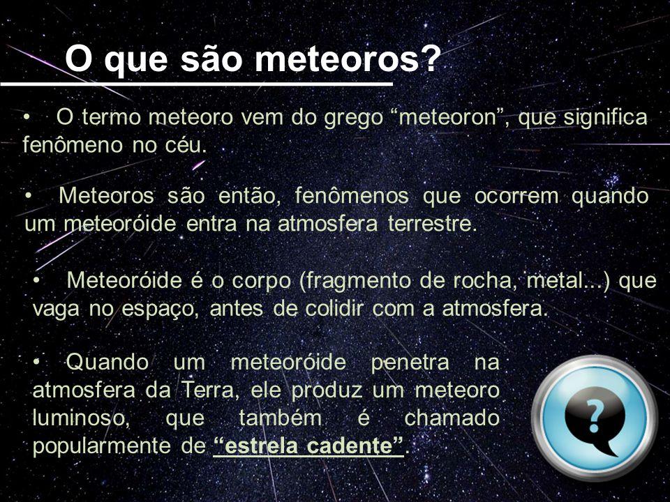 O que são meteoros? O termo meteoro vem do grego meteoron, que significa fenômeno no céu. Meteoros são então, fenômenos que ocorrem quando um meteorói