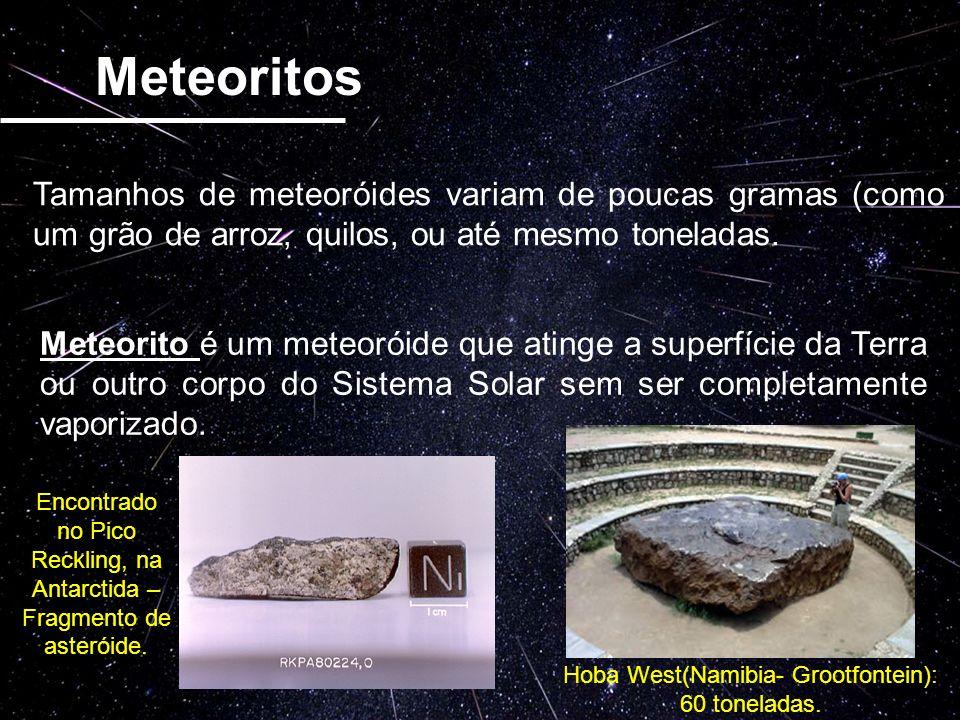 Os Meteoritos são divididos basicamente em: Metálicos ou Ferrosos (Ferro-Níquel) Rochosos (Carbônicos) Ferrosos Rochosos Meteoritos