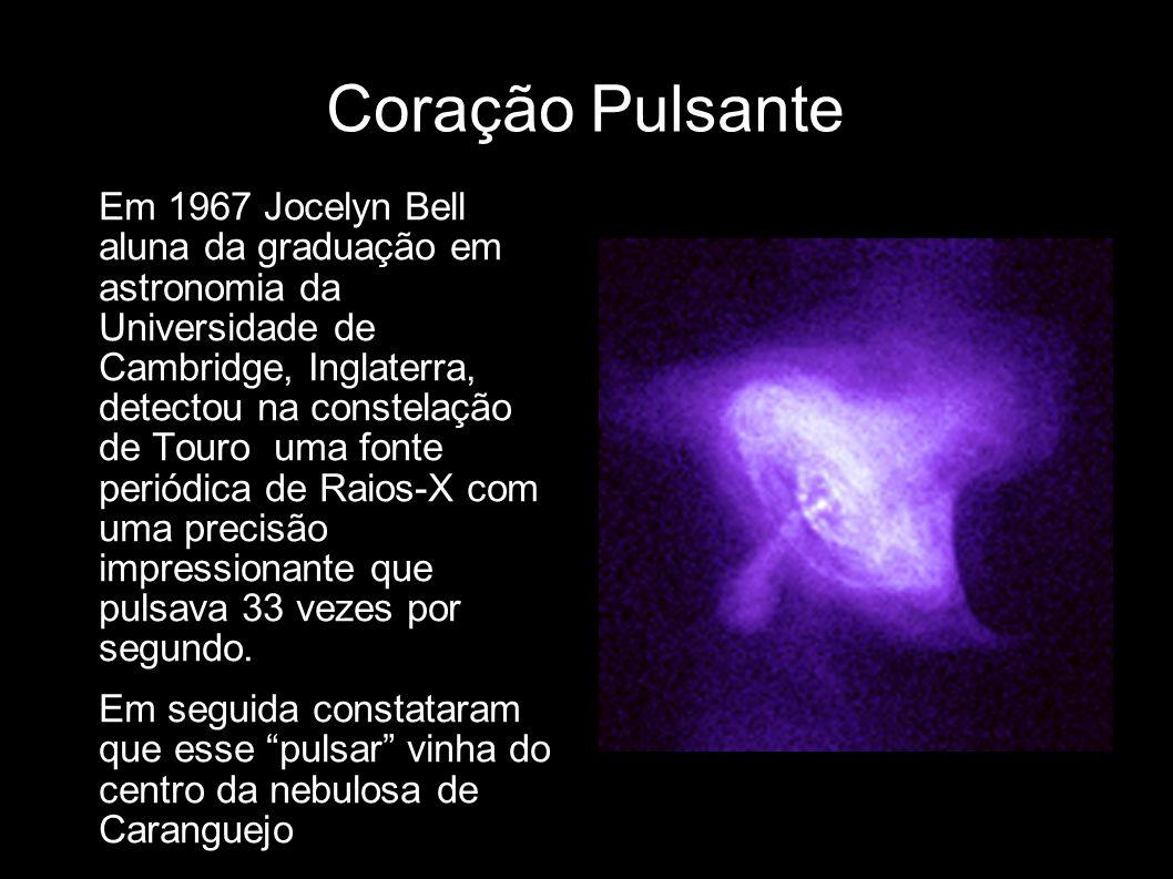 Coração Pulsante Em 1967 Jocelyn Bell aluna da graduação em astronomia da Universidade de Cambridge, Inglaterra, detectou na constelação de Touro uma