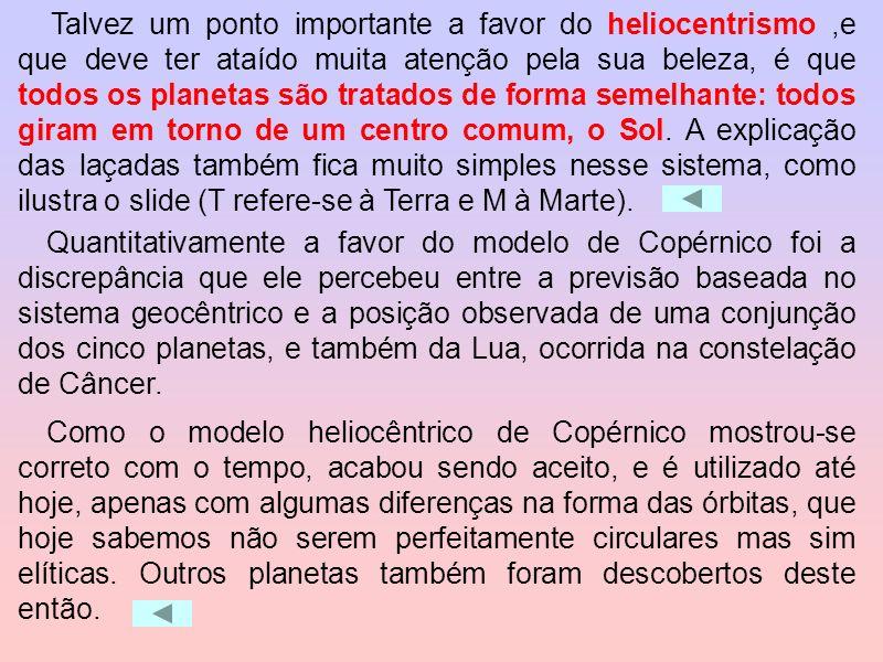 A teoria de Copérnico, que o Sol está no centro, se mostrou com o tempo correta, mas seu sistema planetário ainda continha epiciclos e deferentes e nã