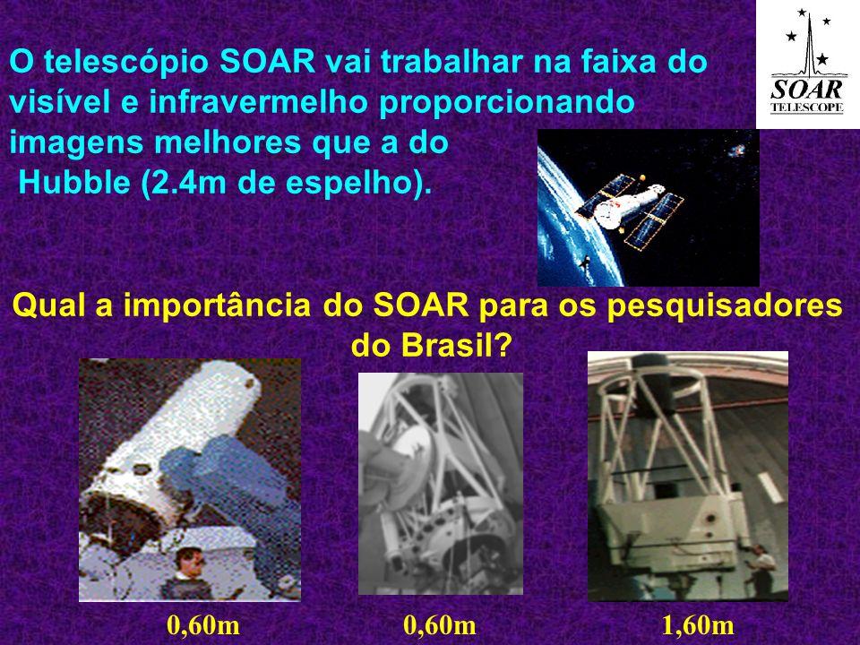 O telescópio SOAR vai trabalhar na faixa do visível e infravermelho proporcionando imagens melhores que a do Hubble (2.4m de espelho). Qual a importân