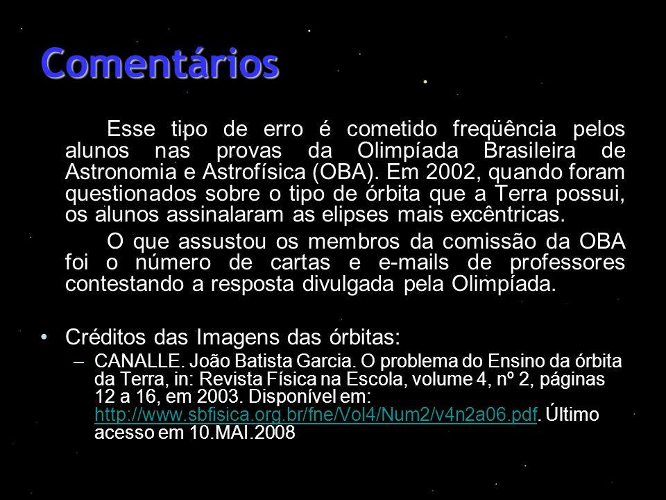 Comentários Esse tipo de erro é cometido freqüência pelos alunos nas provas da Olimpíada Brasileira de Astronomia e Astrofísica (OBA). Em 2002, quando