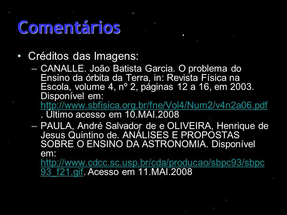 Comentários Créditos das Imagens: –CANALLE. João Batista Garcia. O problema do Ensino da órbita da Terra, in: Revista Física na Escola, volume 4, nº 2