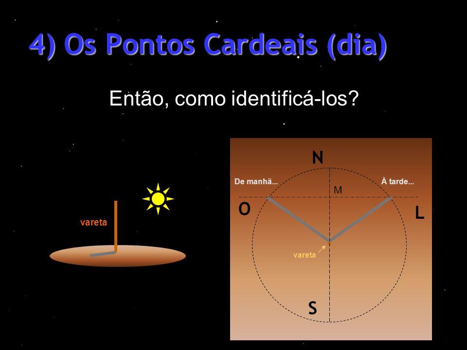 4) Os Pontos Cardeais (dia) Então, como identificá-los? vareta À tarde...De manhã... M L N O S