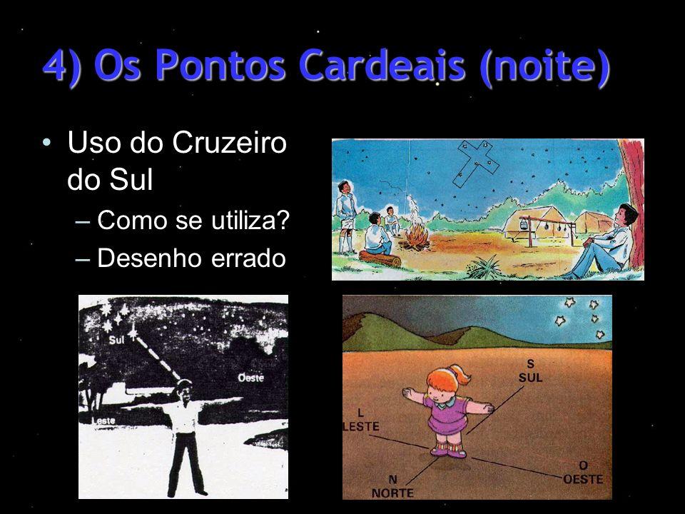 4) Os Pontos Cardeais (noite) Uso do Cruzeiro do Sul –Como se utiliza? –Desenho errado