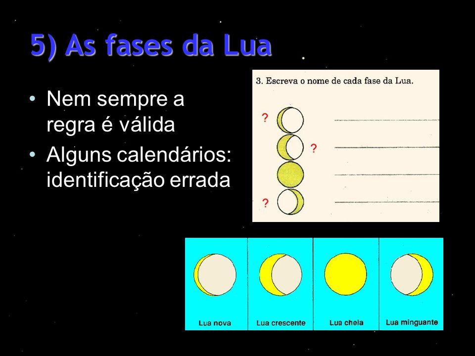 5) As fases da Lua Nem sempre a regra é válida Alguns calendários: identificação errada