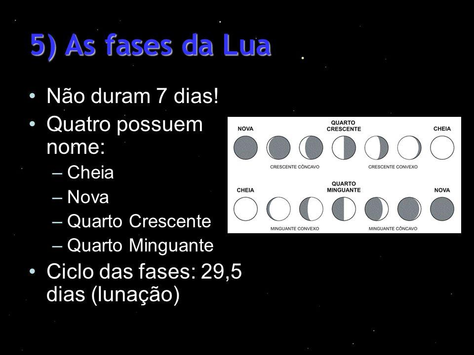 5) As fases da Lua Não duram 7 dias! Quatro possuem nome: –Cheia –Nova –Quarto Crescente –Quarto Minguante Ciclo das fases: 29,5 dias (lunação)
