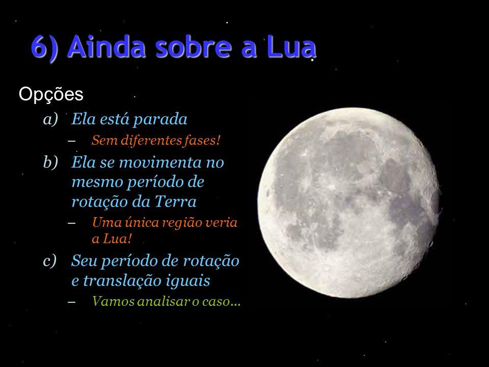 6) Ainda sobre a Lua Opções a)Ela está parada –Sem diferentes fases! b)Ela se movimenta no mesmo período de rotação da Terra –Uma única região veria a