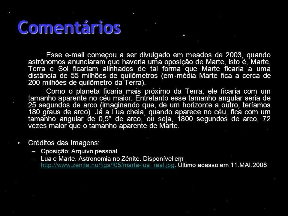 Comentários Esse e-mail começou a ser divulgado em meados de 2003, quando astrônomos anunciaram que haveria uma oposição de Marte, isto é, Marte, Terr