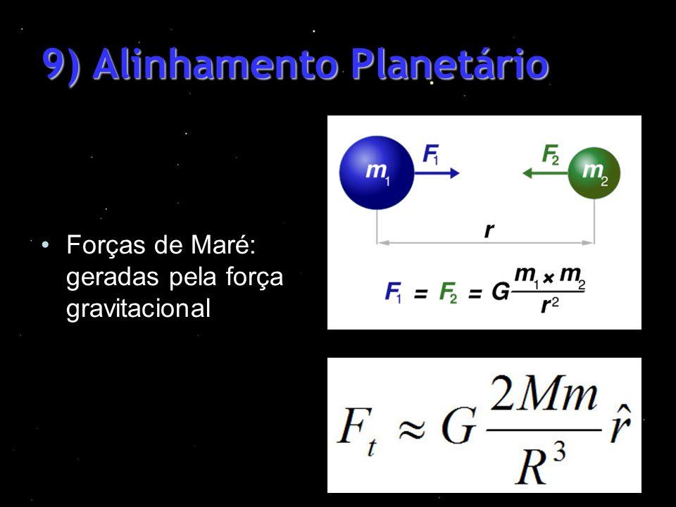 9) Alinhamento Planetário Forças de Maré: geradas pela força gravitacional