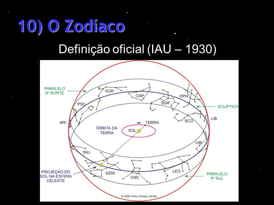 10) O Zodíaco Definição oficial (IAU – 1930)