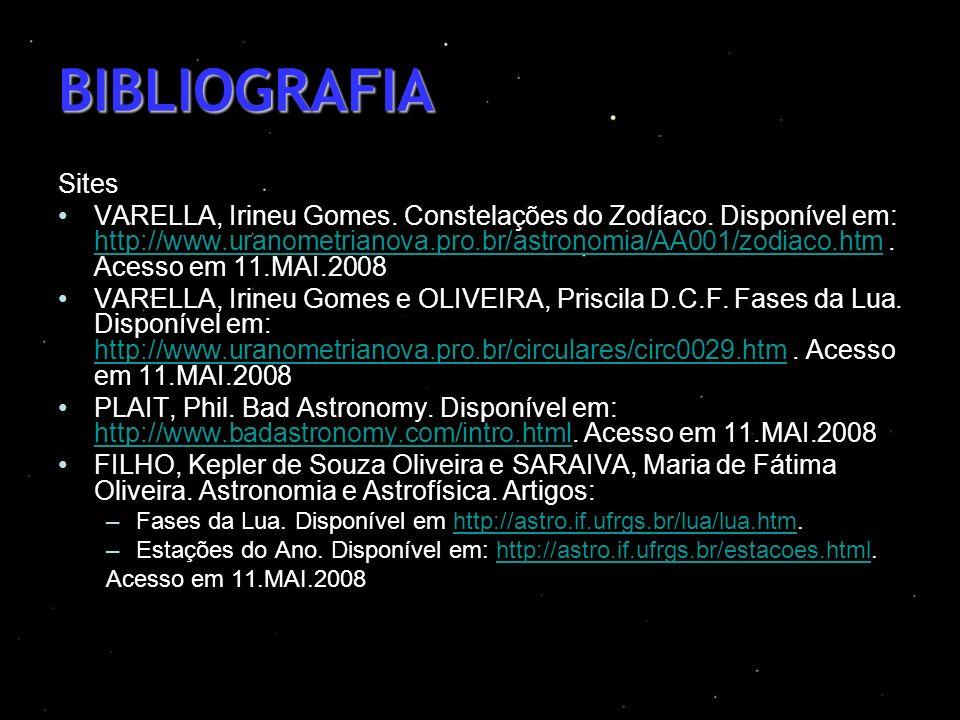 BIBLIOGRAFIA Sites VARELLA, Irineu Gomes. Constelações do Zodíaco. Disponível em: http://www.uranometrianova.pro.br/astronomia/AA001/zodiaco.htm. Aces