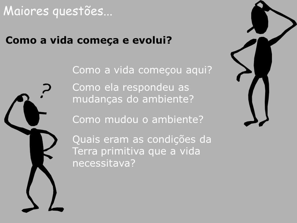 Maiores questões... Como a vida começa e evolui? Como a vida começou aqui? Como ela respondeu as mudanças do ambiente? Como mudou o ambiente? Quais er