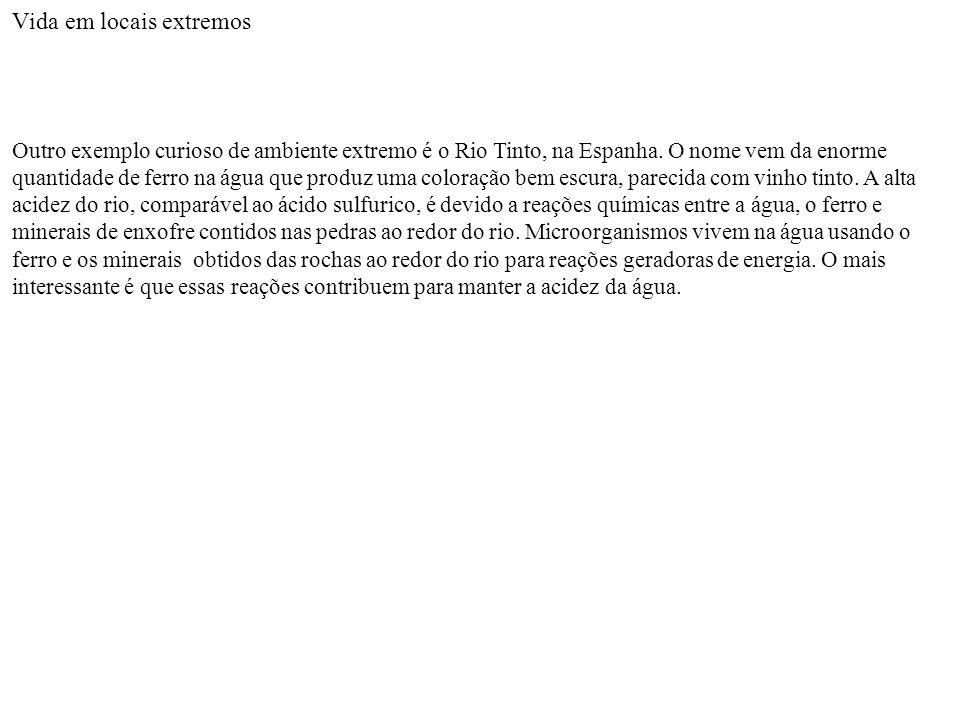 Vida em locais extremos Outro exemplo curioso de ambiente extremo é o Rio Tinto, na Espanha. O nome vem da enorme quantidade de ferro na água que prod