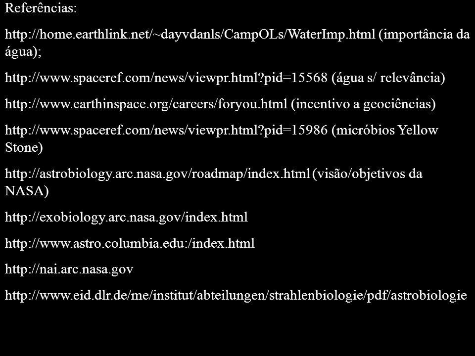 Referências: http://home.earthlink.net/~dayvdanls/CampOLs/WaterImp.html (importância da água); http://www.spaceref.com/news/viewpr.html?pid=15568 (águ