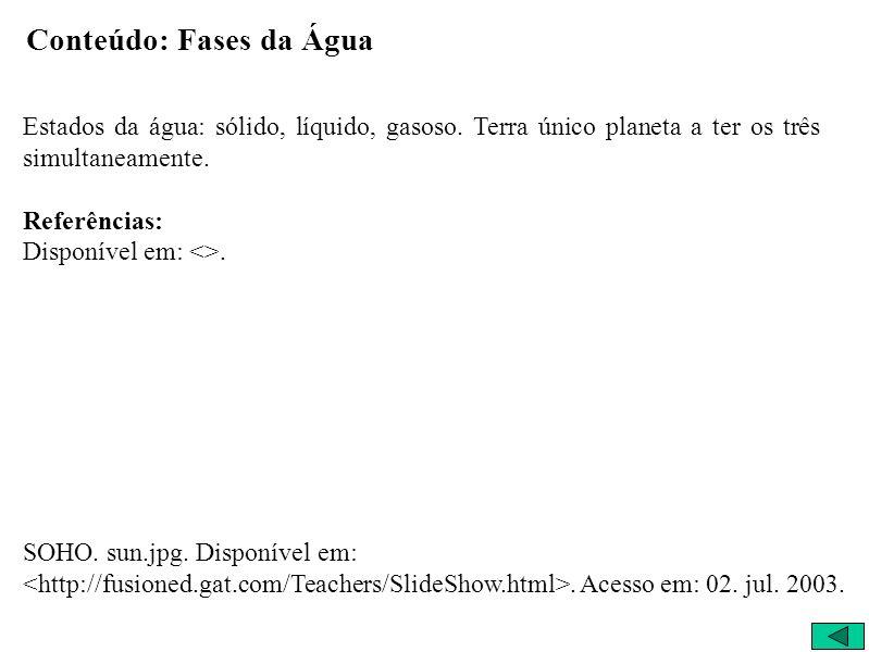 Conteúdo: Fases da Água Estados da água: sólido, líquido, gasoso.