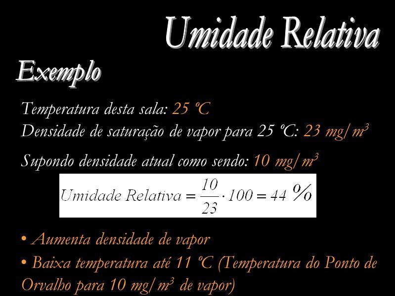 Temperatura desta sala: 25 ºC Densidade de saturação de vapor para 25 ºC: 23 mg/m 3 Aumenta densidade de vapor Supondo densidade atual como sendo: 10 mg/m 3 Baixa temperatura até 11 ºC (Temperatura do Ponto de Orvalho para 10 mg/m 3 de vapor)