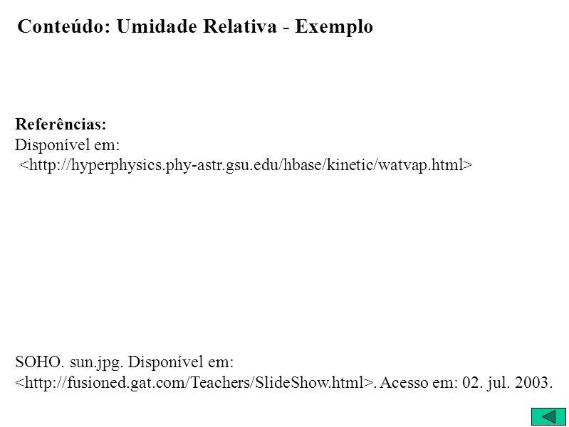 Conteúdo: Umidade Relativa - Exemplo Referências: Disponível em: SOHO.