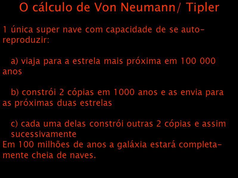O cálculo de Von Neumann/ Tipler 1 única super nave com capacidade de se auto- reproduzir: a) viaja para a estrela mais próxima em 100 000 anos b) constrói 2 cópias em 1000 anos e as envia para as próximas duas estrelas c) cada uma delas constrói outras 2 cópias e assim sucessivamente Em 100 milhões de anos a galáxia estará completa- mente cheia de naves.