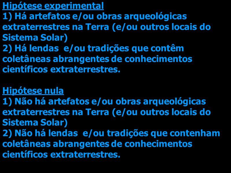 Hipótese experimental 1) Há artefatos e/ou obras arqueológicas extraterrestres na Terra (e/ou outros locais do Sistema Solar) 2) Há lendas e/ou tradiç