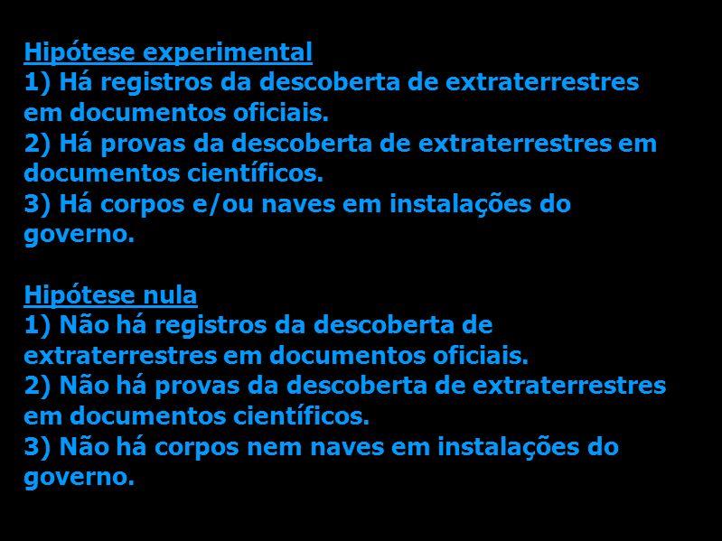 Hipótese experimental 1) Há registros da descoberta de extraterrestres em documentos oficiais. 2) Há provas da descoberta de extraterrestres em docume