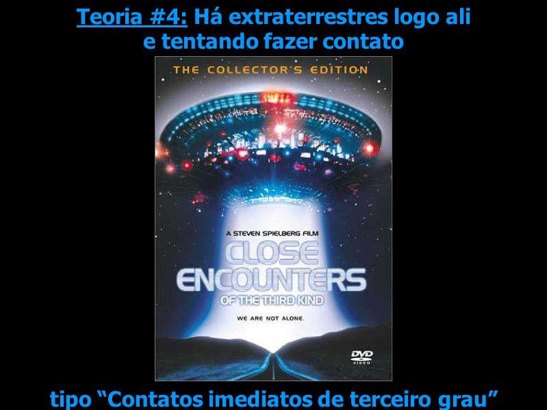 Teoria #4: Há extraterrestres logo ali e tentando fazer contato tipo Contatos imediatos de terceiro grau