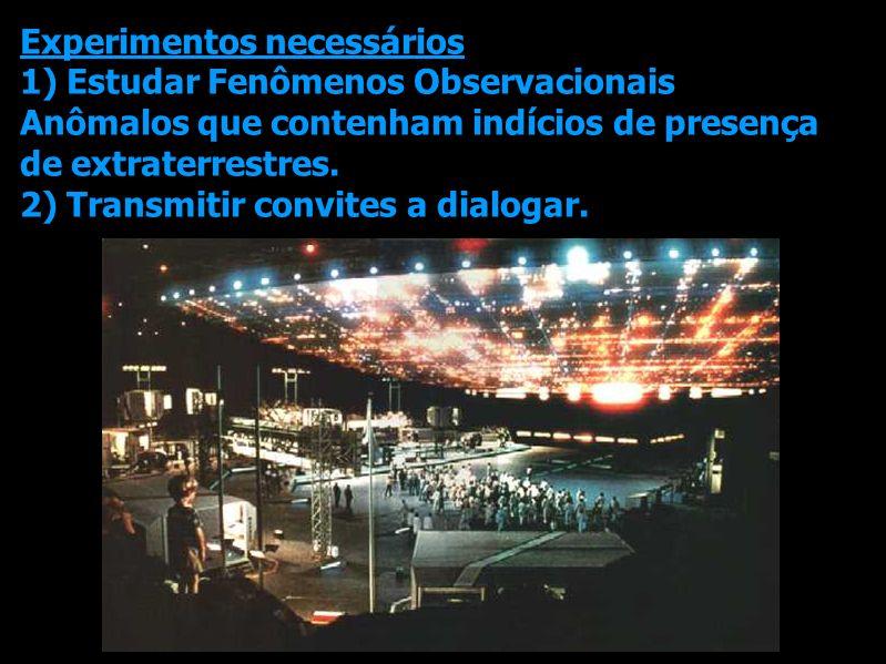 Experimentos necessários 1) Estudar Fenômenos Observacionais Anômalos que contenham indícios de presença de extraterrestres. 2) Transmitir convites a