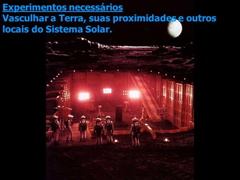 Experimentos necessários Vasculhar a Terra, suas proximidades e outros locais do Sistema Solar.