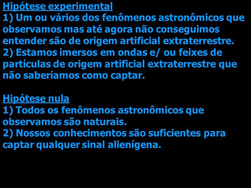 Hipótese experimental 1) Um ou vários dos fenômenos astronômicos que observamos mas até agora não conseguimos entender são de origem artificial extraterrestre.