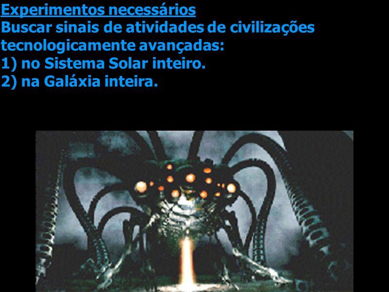 Experimentos necessários Buscar sinais de atividades de civilizações tecnologicamente avançadas: 1) no Sistema Solar inteiro. 2) na Galáxia inteira.