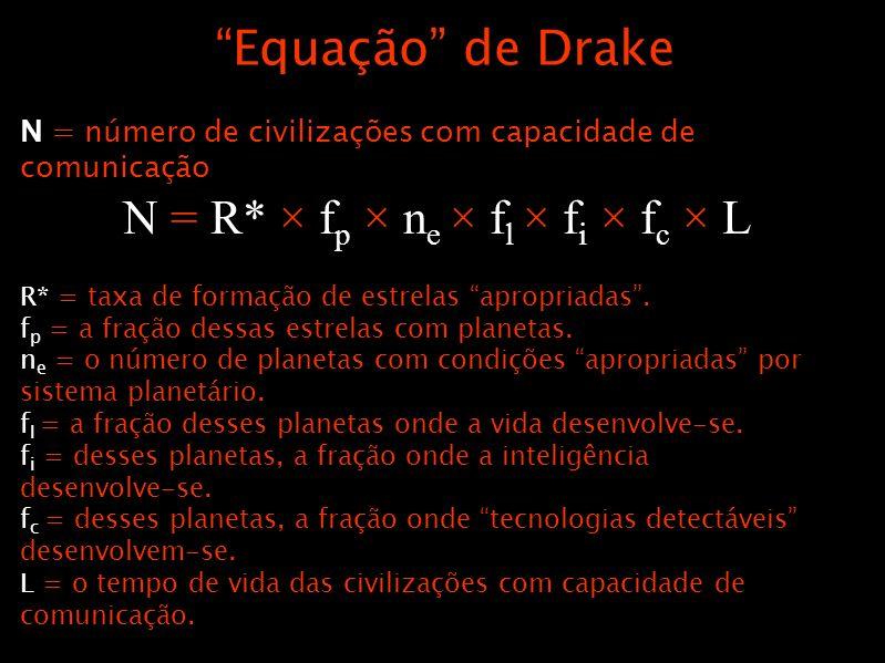 Equação de Drake N = número de civilizações com capacidade de comunicação R* = taxa de formação de estrelas apropriadas. f p = a fração dessas estrela