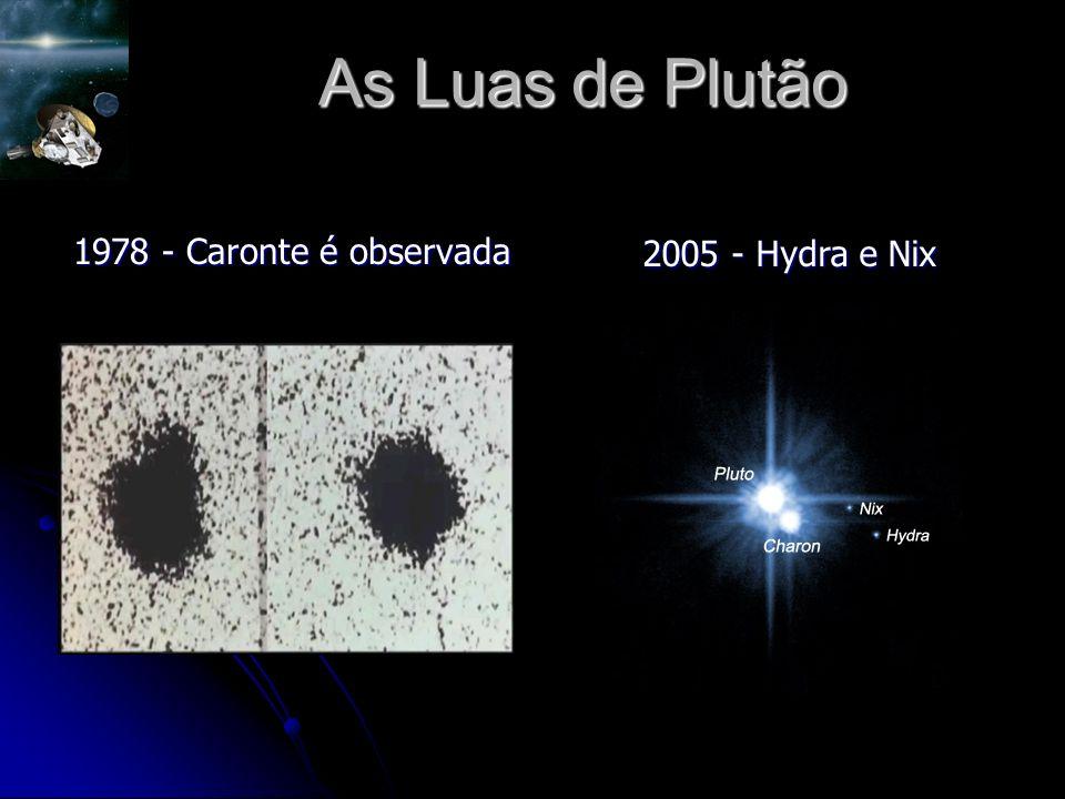 As Luas de Plutão 1978 - Caronte é observada 2005 - Hydra e Nix