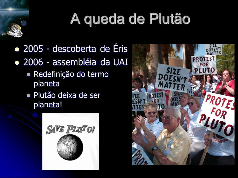 A queda de Plutão 2005 - descoberta de Éris 2005 - descoberta de Éris 2006 - assembléia da UAI 2006 - assembléia da UAI Redefinição do termo planeta Redefinição do termo planeta Plutão deixa de ser planeta.