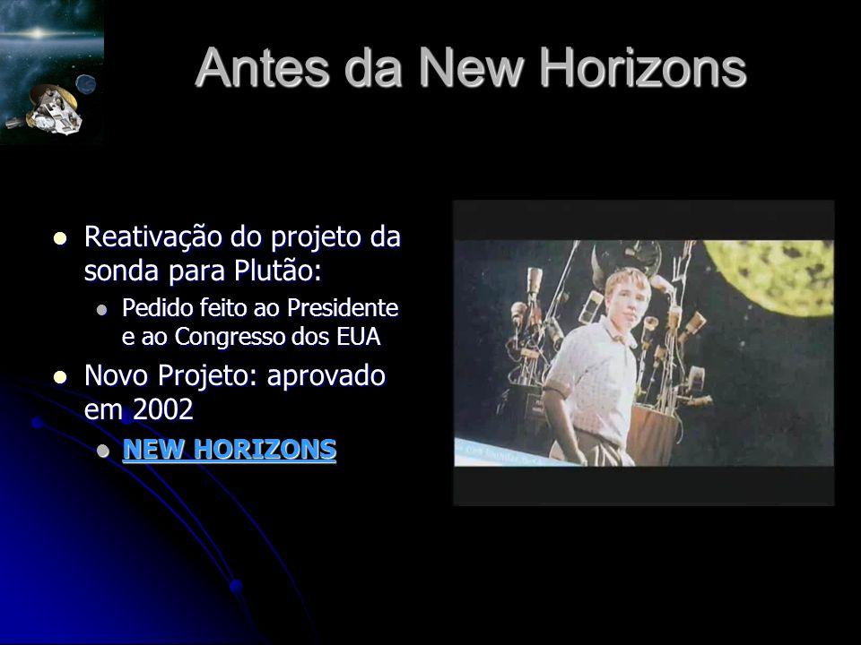 Antes da New Horizons Reativação do projeto da sonda para Plutão: Reativação do projeto da sonda para Plutão: Pedido feito ao Presidente e ao Congresso dos EUA Pedido feito ao Presidente e ao Congresso dos EUA Novo Projeto: aprovado em 2002 Novo Projeto: aprovado em 2002 NEW HORIZONS NEW HORIZONS