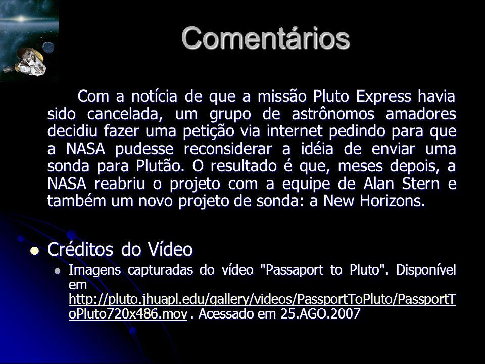 Comentários Com a notícia de que a missão Pluto Express havia sido cancelada, um grupo de astrônomos amadores decidiu fazer uma petição via internet pedindo para que a NASA pudesse reconsiderar a idéia de enviar uma sonda para Plutão.