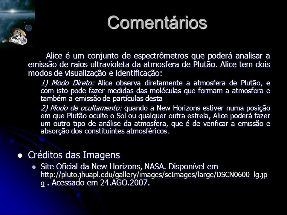 Comentários Alice é um conjunto de espectrômetros que poderá analisar a emissão de raios ultravioleta da atmosfera de Plutão.