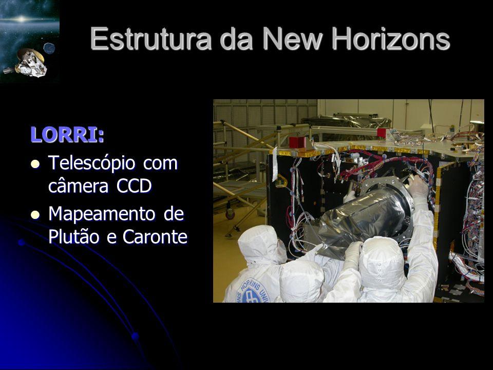 Estrutura da New Horizons LORRI: Telescópio com câmera CCD Telescópio com câmera CCD Mapeamento de Plutão e Caronte Mapeamento de Plutão e Caronte