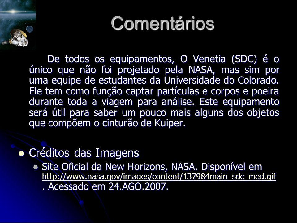 Comentários De todos os equipamentos, O Venetia (SDC) é o único que não foi projetado pela NASA, mas sim por uma equipe de estudantes da Universidade do Colorado.