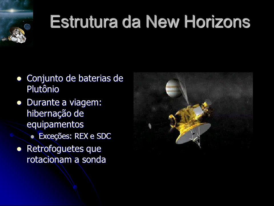 Estrutura da New Horizons Conjunto de baterias de Plutônio Conjunto de baterias de Plutônio Durante a viagem: hibernação de equipamentos Durante a viagem: hibernação de equipamentos Exceções: REX e SDC Exceções: REX e SDC Retrofoguetes que rotacionam a sonda Retrofoguetes que rotacionam a sonda